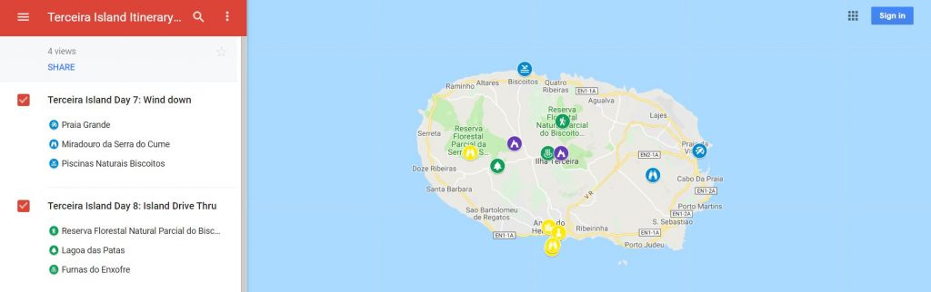 Azores Itinerary Map