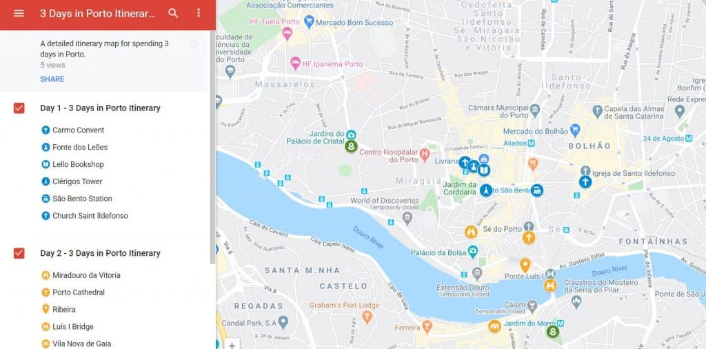 3 days in Porto Itinerary Map