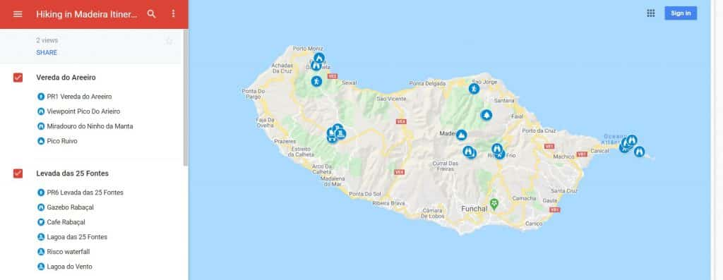 Hiking in Madeira Itinerary Map