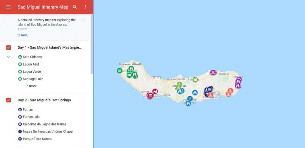 Sao Miguel Itinerary Map
